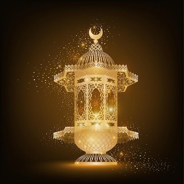 Lampe Arabe Dorée Avec Motif Islamique Pour La Célébration Du Ramadan Kareem Vecteur Premium