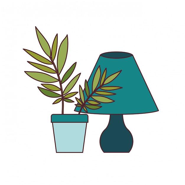 Lampe de bureau avec plante d'intérieur Vecteur gratuit