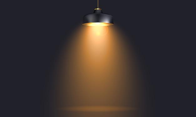 Lampe industrielle avec lumière réaliste mock up Vecteur Premium