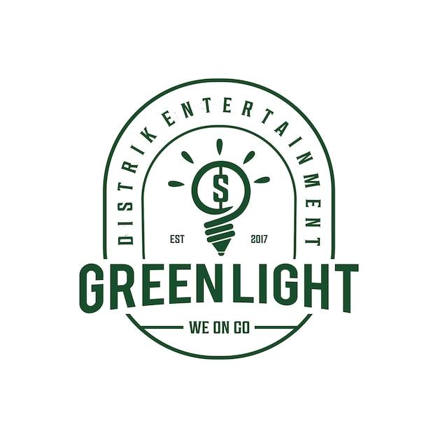 Lampe vintage logo Vecteur Premium