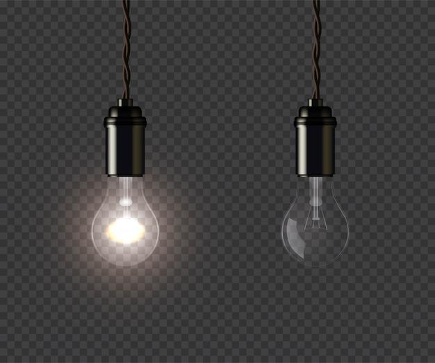 Lampes Rougeoyantes Et éteintes Vintage Tenant Sur Fil Vecteur Premium
