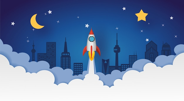 Lancement de fusée dans le ciel nocturne au-dessus de la ville avec la lune et les étoiles. conception de vecteur en papier découpé. Vecteur Premium