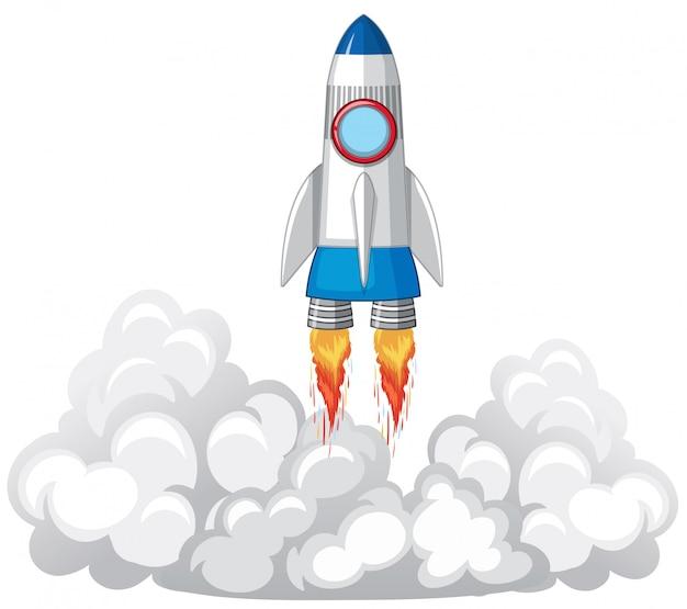 Lancement de la fusée dans les nuages Vecteur gratuit