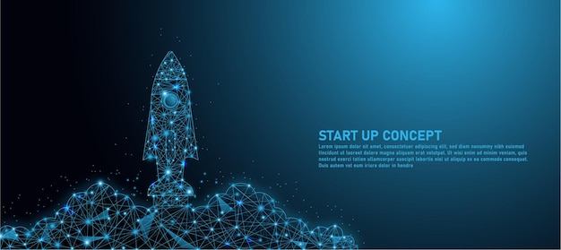 Lancement De Fusée, Idées De Démarrage D'entreprise, Création De Lignes Triangulaires, Startups Et Arrière-plan De Style De Particules Vecteur Premium