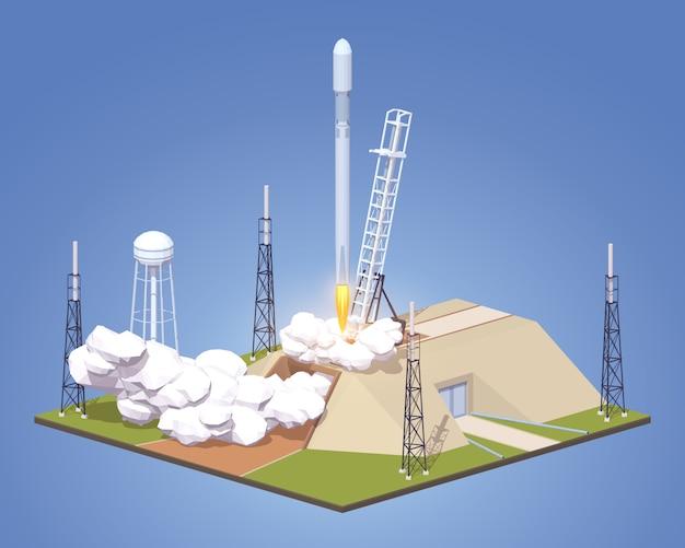 Lancement isométrique 3d lowpoly de la fusée spatiale moderne Vecteur Premium