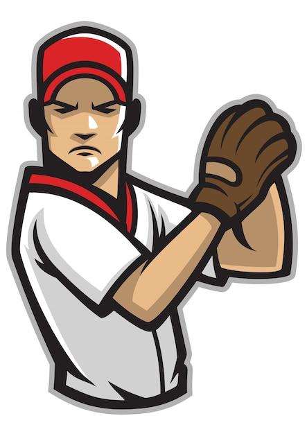 Lanceur De Baseball Vecteur Premium