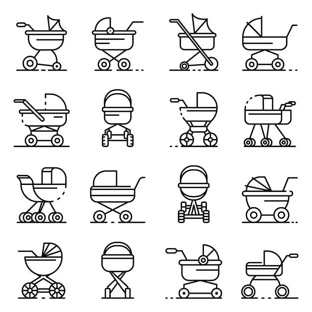 Landau icônes définies. ensemble de contour des icônes vectorielles de poussette Vecteur Premium