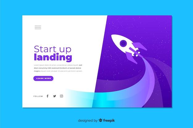 Landing business landing page avec fusée Vecteur gratuit