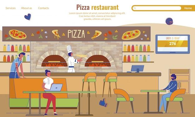 Landing Page Advertising Pizza Restaurant Vecteur Premium