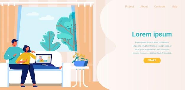 Landing page annonce une application pour un appel vidéo Vecteur Premium