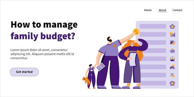 Landing Page Comment Gérer Le Budget Familial: La Jeune Famille Et L'enfant Planifient Leur Budget En Allouant De L'argent à Différents Postes Budgétaires Vecteur Premium