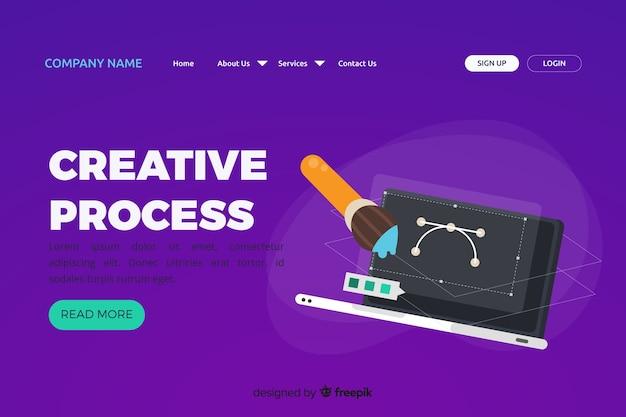 Landing page avec concept de processus créatif Vecteur gratuit