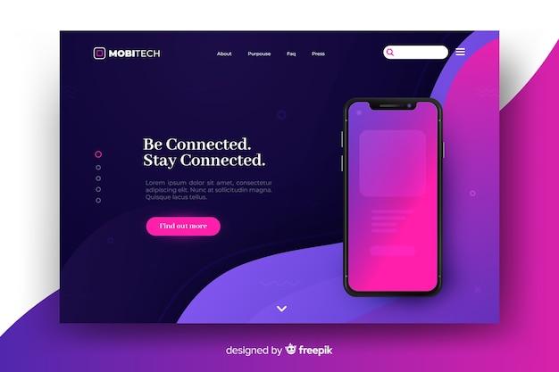 Landing page avec concept de téléphone pour le modèle Vecteur gratuit