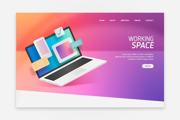 Landing page avec un design d'ordinateur portable pour le modèle Vecteur gratuit