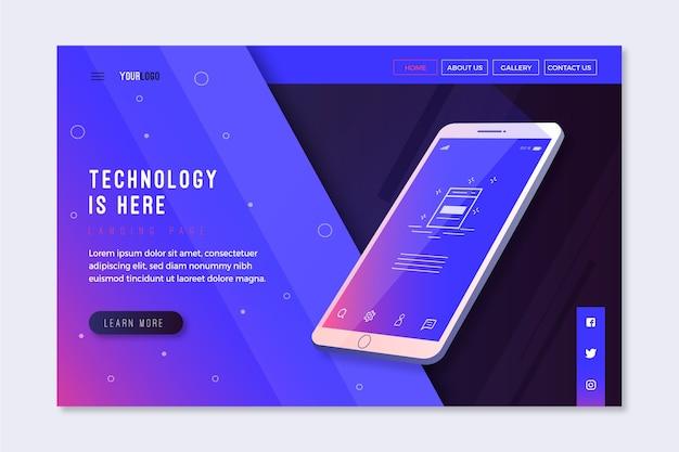 Landing page avec design smartphone pour template Vecteur gratuit