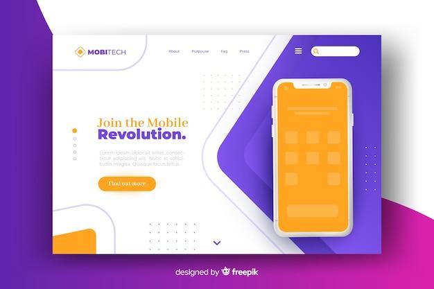 Landing page avec design de téléphone pour modèle Vecteur gratuit