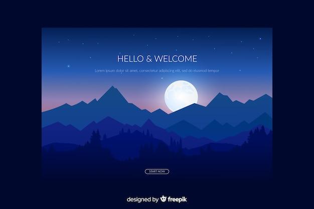 Landing Page Avec Forêt De Dégradé Bleu Vecteur gratuit