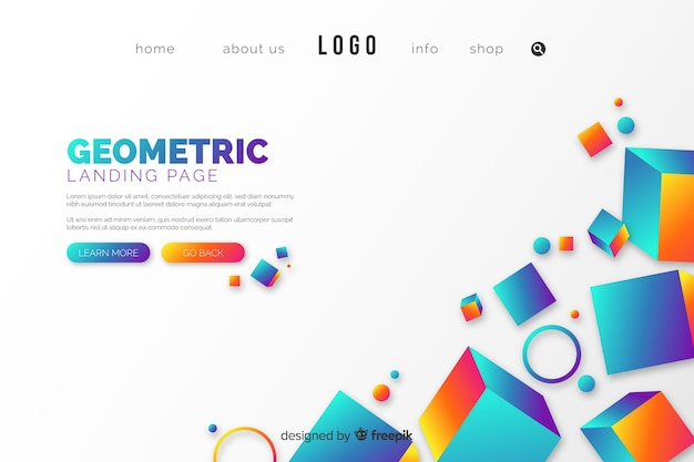 Landing page avec des formes géométriques Vecteur gratuit