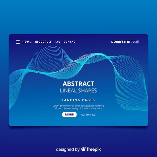 Landing page avec des formes linéaires abstraites Vecteur gratuit
