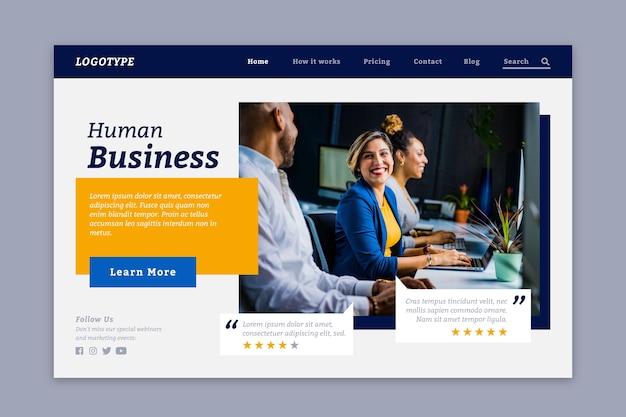 Landing page human business avec photo Vecteur gratuit