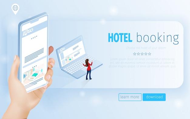 Landing page main tenant un smartphone et une femme près de cahier Vecteur Premium