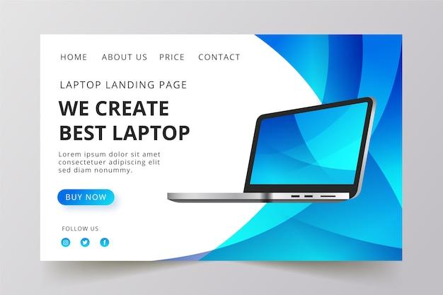 Landing page avec un modèle de portable Vecteur gratuit