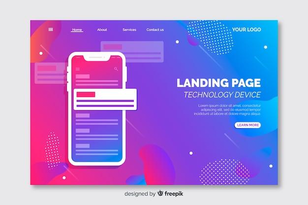Landing page avec modèle de smartphone Vecteur gratuit