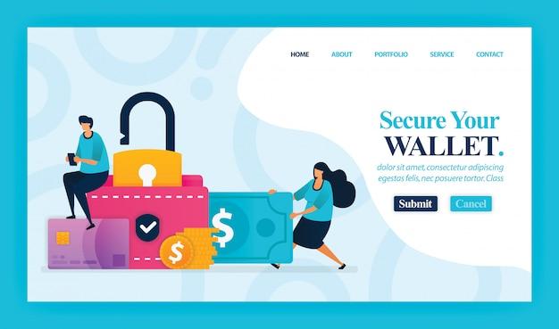 Landing page de sécurisez votre portefeuille. Vecteur Premium