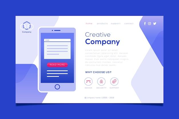 Landing page avec smartphone pour site web Vecteur gratuit