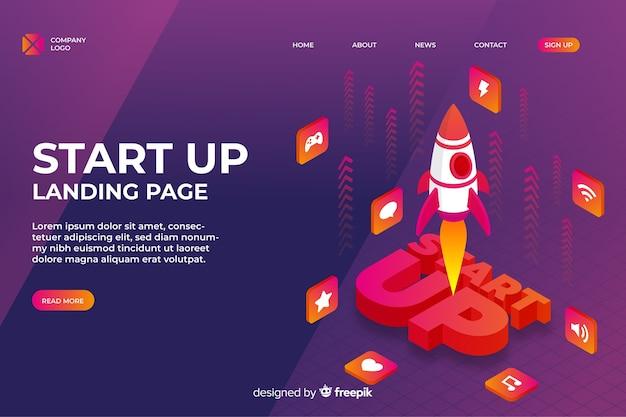 Landing page de la start-up Vecteur gratuit