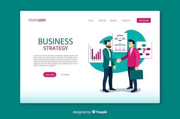 Landing page de stratégie commerciale avec design plat Vecteur gratuit
