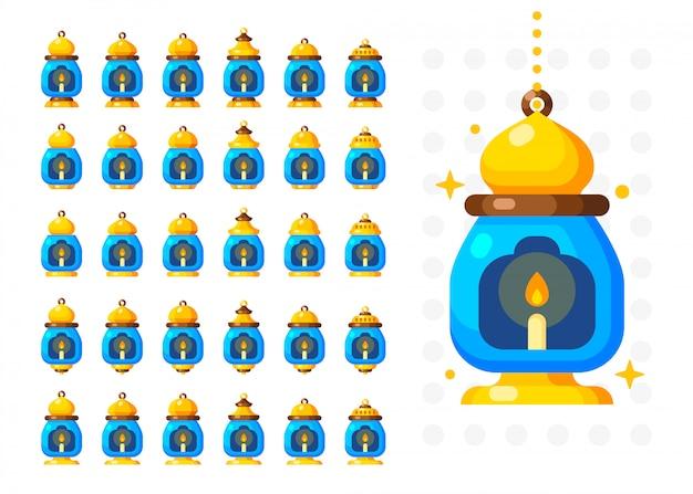 Lanterne du ramadan isolée. lampe de décoration de style arabe Vecteur Premium