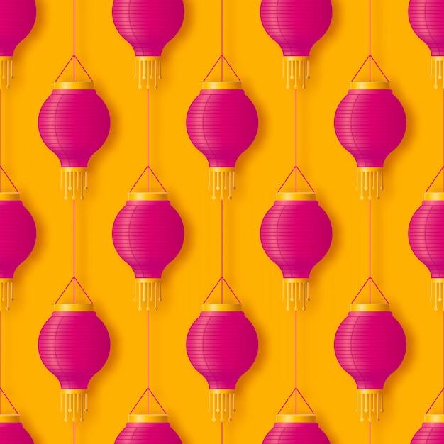 Lanterne En Papier Suspendue Rose Chinoise Ou Indienne Pour Le Festival Diwali Ou Le Modèle Sans Couture De Bonne Année Chinoise Dans Un Style Pop Abstrait Vecteur Premium