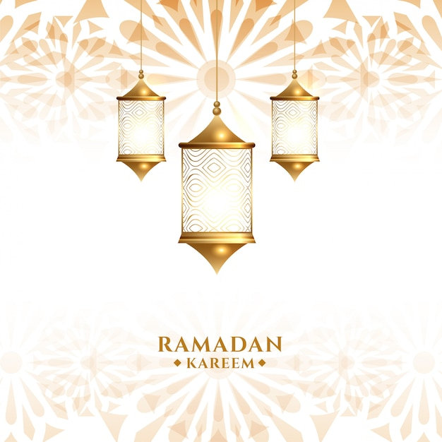 Lanterne Suspendue Arabe Traditionnelle Ramadan Kareem Fond Vecteur gratuit