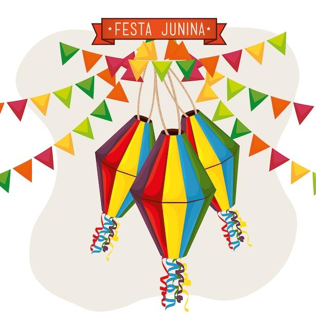 Lanternes colorées et bannières avec festa junina signer sur illustration vectorielle fond blanc Vecteur Premium