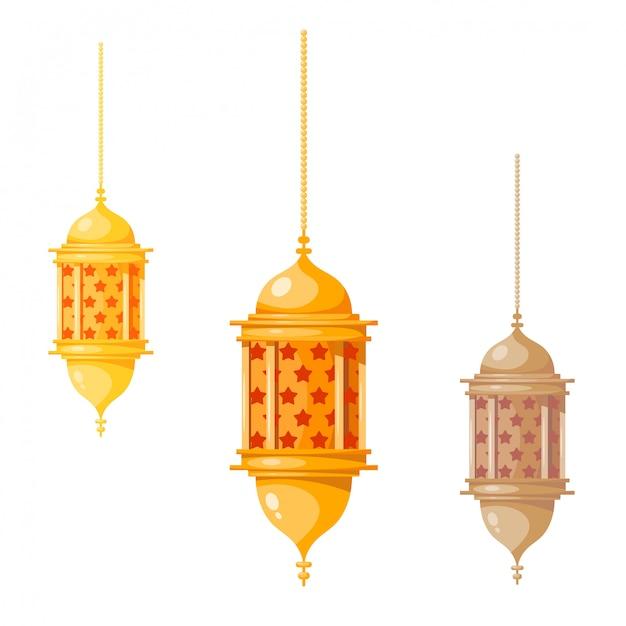 Lanternes multicolores ramadan kareem, isolés sur blanc Vecteur Premium
