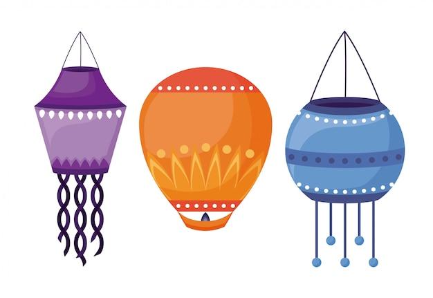 Lanternes suspendues icônes du festival de diwali Vecteur gratuit