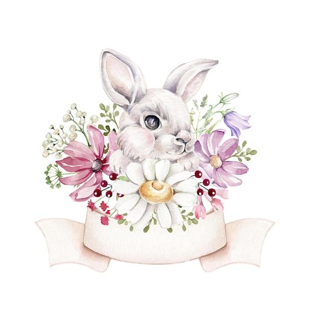 Lapin Aquarelle En Fleurs Sauvages Vecteur Premium