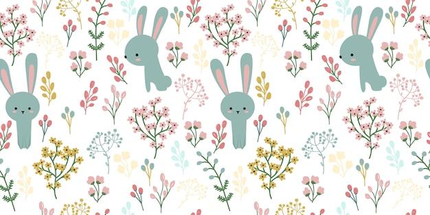 Lapin Bleu Et Illustration Florale En Jacquard Sans Soudure Vecteur Premium