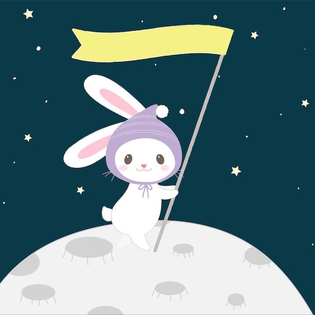 Lapin de dessin animé mignon sur le style de lune dessiné à la main. Vecteur Premium