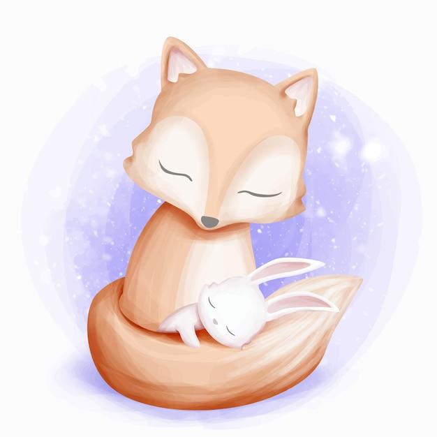 Lapin dormir sur la queue de renard Vecteur Premium