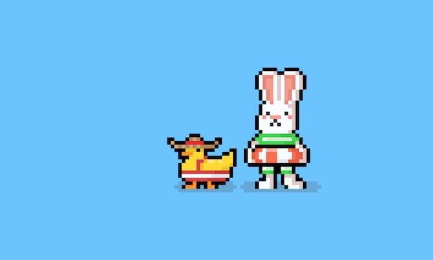 Lapin Dété De Dessin Animé Pixel Art Avec Personnage De