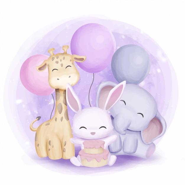 Lapin girafe et éléphant fêtent leur anniversaire Vecteur Premium