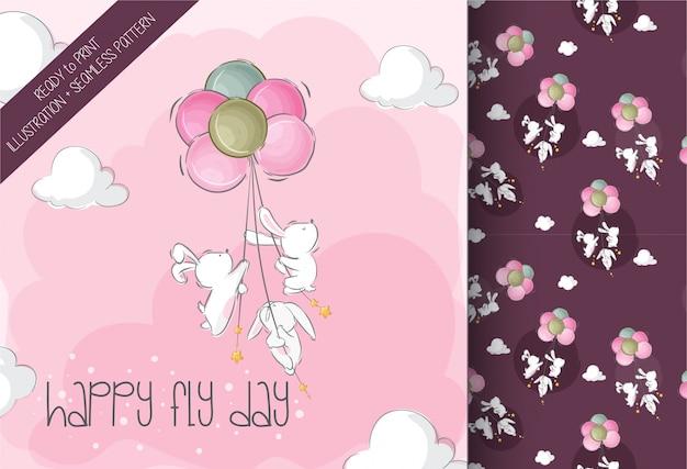 Lapin mignon bébé volant avec motif sans soudure animal mignon ballon air Vecteur Premium