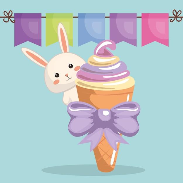 Lapin Mignon Avec Carte D'anniversaire De Crème Glacée Kawaii Vecteur Premium