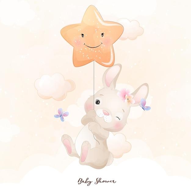 Lapin Mignon Doodle Avec Illustration étoile Vecteur Premium