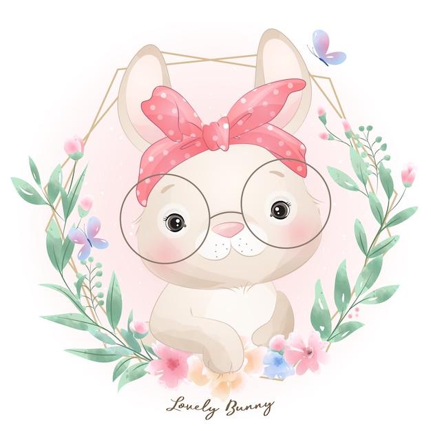 Lapin Mignon Doodle Avec Illustration Florale Vecteur Premium
