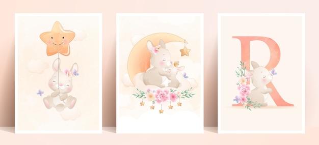 Lapin Mignon Doodle Avec Illustration De Jeu Floral Vecteur Premium