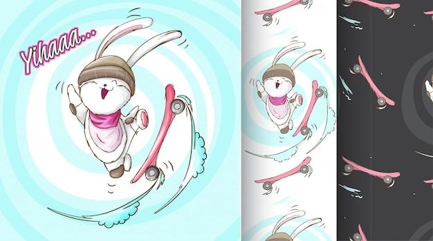 Lapin mignon sur l'illustration de modèle de skate board Vecteur Premium