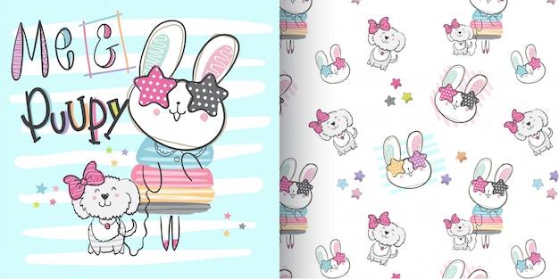Lapin mignon pattern set, main dessiner illustration-vecteur Vecteur Premium